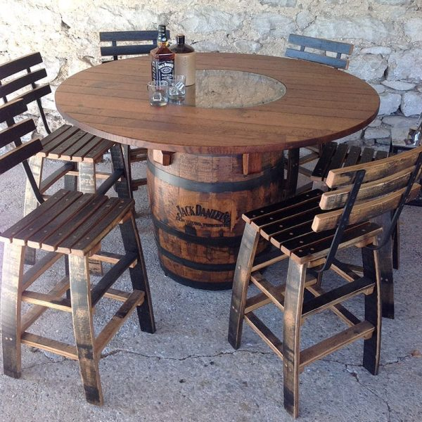 Jack Daniels Pub Table & Whiskey Barrel Stools