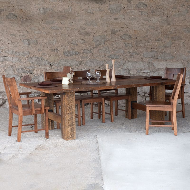 Beam Base Threshing Floor Table with Windowback Chairs