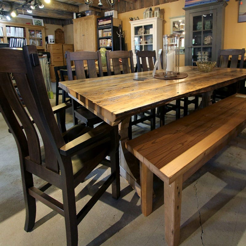 Trestle Base Threshing Floor Table with Bench