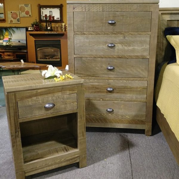 Metro Rough Cut Chest and Night Stand