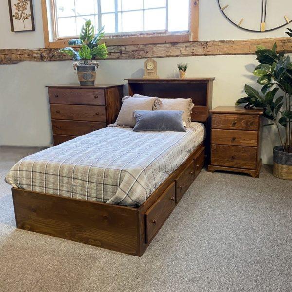 Pine storage bed