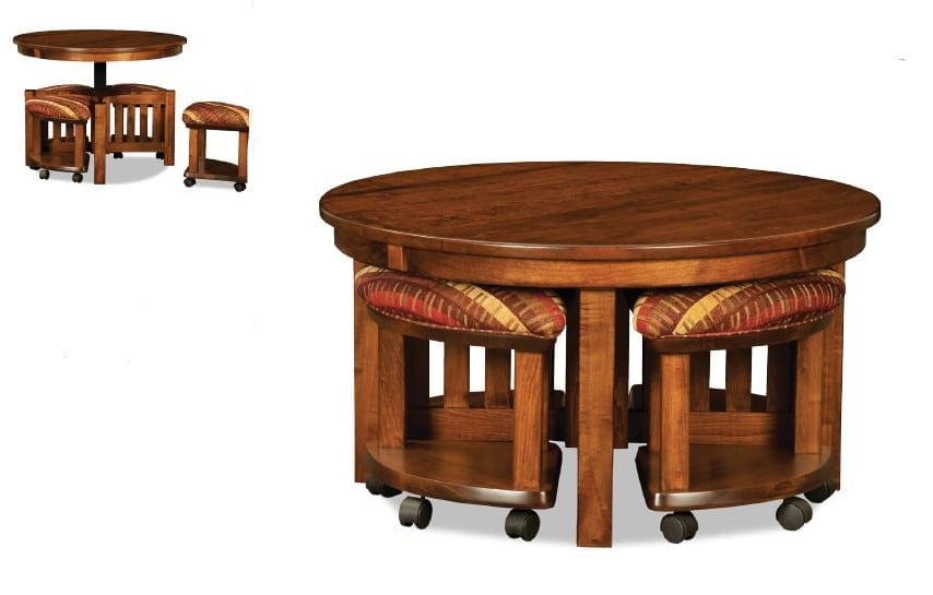Five Piece Table Bench Set With Open Benches