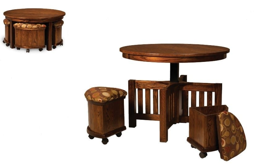 Five Piece Table Bench Set With Storage Benches