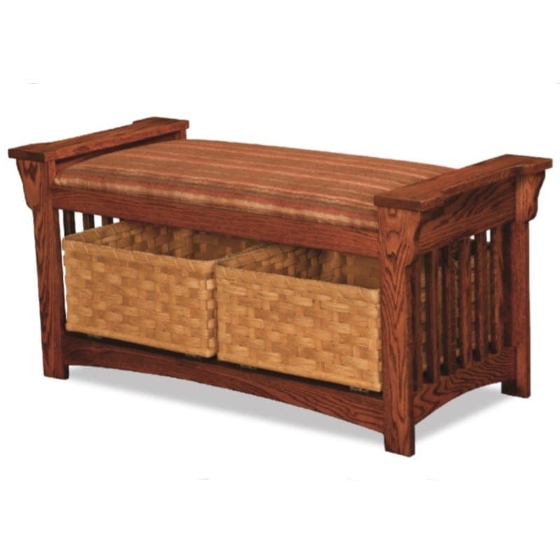Mission Slat Bench with Baskets
