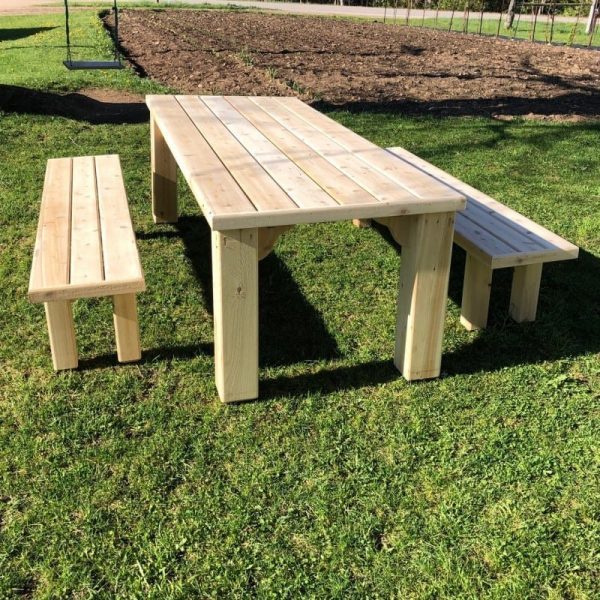 cedar picnic table + benches