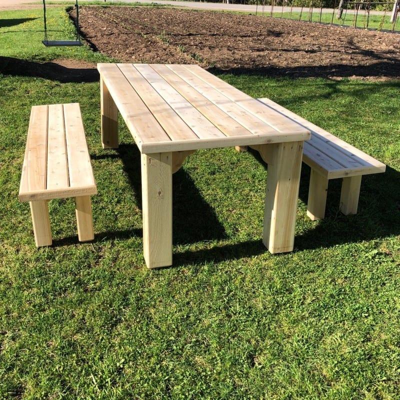 cedar picnic table + benches