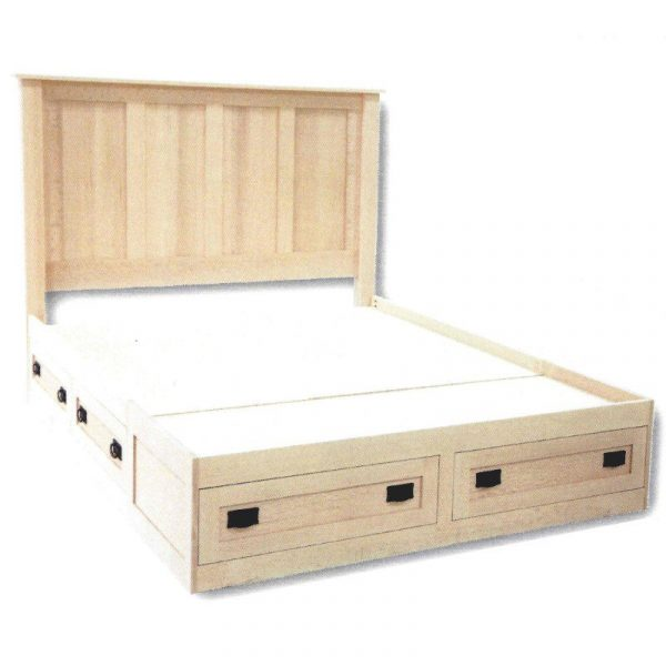 Mission Queen bed with 6 drawers